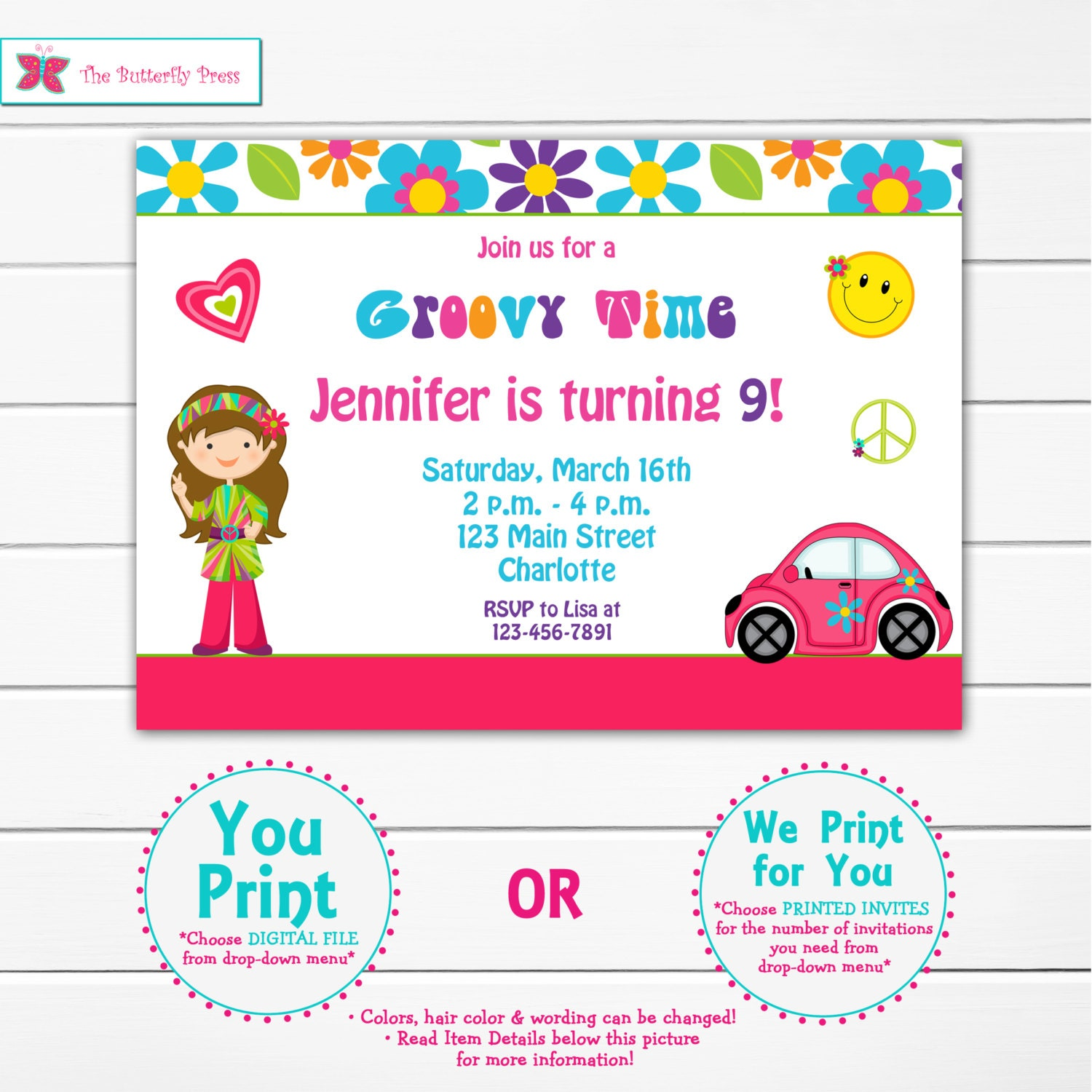 Hippie Birthday Party Invitation printable invitation