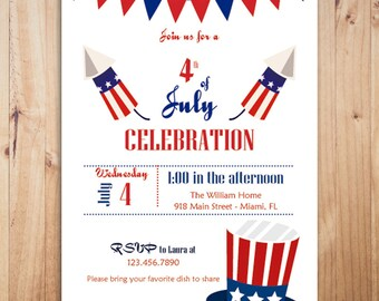 4th of July party invitation, Printable 4th of July invitation, Independence day invitation, Fourth of July invitations, 4th of July Invite