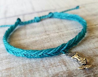 Aqua Blue Mermaid Fishtail Bracelet, Fishtail Bracelet, Mermaid Charm Bracelet, Surfer Bracelet, Mermaid Anklet, Fishtail Anklet, Waterproof