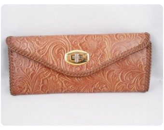 Vintage Tooled Leather Look -  Long Wallet - Never Used - MINT - Laced edges