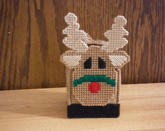 Easter Gift, Reindeer Candy Cane Holder, Christmas Gift, Plastic Canvas, Needlepoint Gift, rudolph decor, Reindeer Decor, Candy Holder