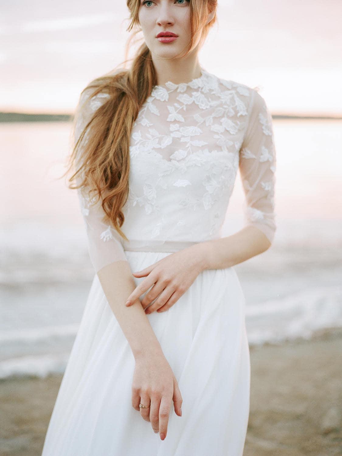 Korsett Brautkleid mit Bolero chiffon Brautkleid Blumen
