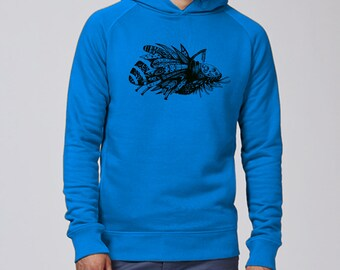 Hand screen printed Hoodie Sweatshirt / Insect / azure