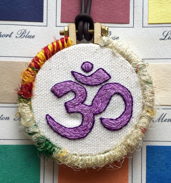 Om Hand Embroidered Mini Hoop Art Necklace, Sound, Myth, Symbol, Whimsical, Hand Embroidered