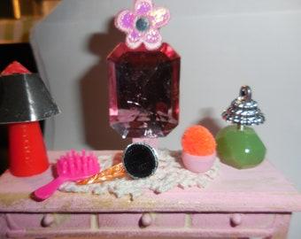 Dollhouse Vanity Wood Vanity With Lamp Perfume Bottle Powder Puff