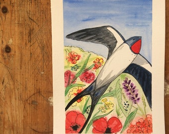 Original Painting - A5 - Swallow Dances over the Poppy Fields