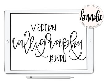 Procreate Brush Bundle - 8 Calligraphy Type Brushes - iPad Pro - Instant Download - Hand Lettering - lefty.script