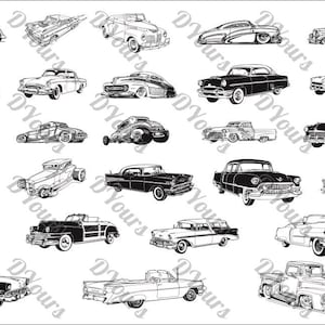 Retro Cars - 27 Vintage Vector Models - svg cdr ai pdf jpg files Instant Download Files for Laser Cutting Printing Old Cars