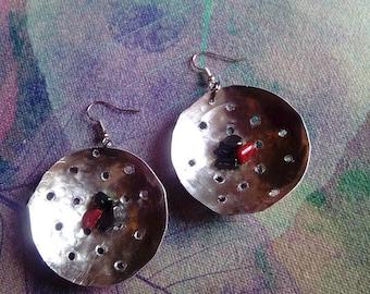 Aluminium earrings,handmade, forged aluminium,red coral,hematit
