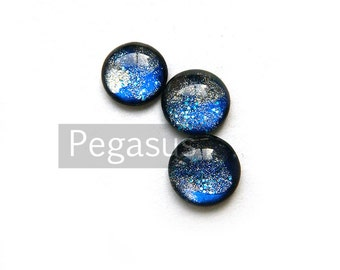 Star Ocean Blue Round Glass Opal Cabochon (3 Piece,6 size options) Fantasy jewel gem for wedding,cosplay,elven costume,steampunk jewelry