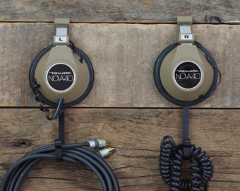 Upcycled Headphone Hangers / Wall Hooks - Repurposed Vintage Pair of Realistic Nova 40