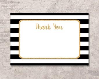 Black and Gold Thank You Card Printable, black white stripes gold glitter, digital file instant download, baby shower bridal shower wedding