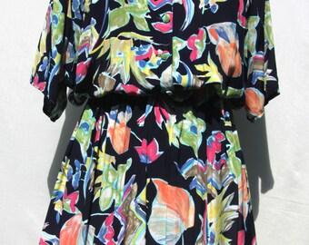 Vintage 1980's Floral Print Dress