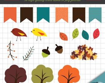 Autumn Clip Art Set; Digital Graphics, Scrapbook Illustrations, Invitation Design