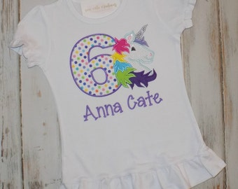 Rainbow Unicorn shirt, Rainbow Unicorn birthday shirt, Unicorn birthday shirt, Ruffle shirt, Unicorn birthday outfit, Sew Cute Creations