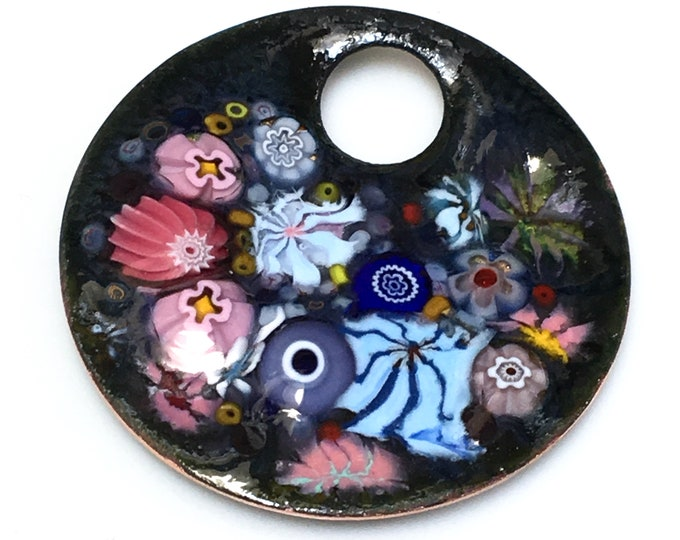 Featured listing image: Enameled Copper Art Pendant, Joyful Impressionistic Flower Garden in Pink and Blue, Kiln Fired Glass Enamel on Handmade Metal Pendant