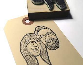 Personalized couple portrait rubber stamp- Custom couple portrait stamp - wedding stamp, Custom Face Stamp- gifts for couples
