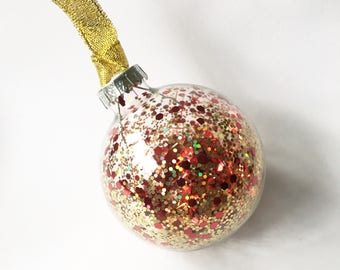 Red Gold Glitter Filled Glass Christmas Bauble 6cm