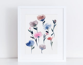 Watercolor Print, Flowers, Wildflower Art, Fine Art, Floral, Modern Art, Ink, Minimalist, Floral Bouquet, Abstract Art, Bohemian