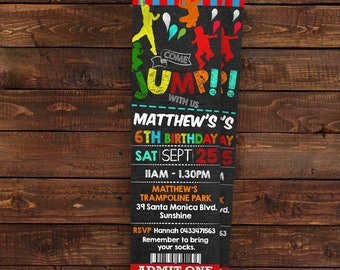 Ticket Jump invitation for boy - Jump Party Invitations - Bounce Birthday Invitation - Let's Jump - PDF Editable - DIY Party Invitation