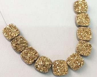 6 Pcs Gold Druzy, Titanium Gold Druzy, 10mm Matched Pairs, Cushion Cut Druzy, Druzy Jewelry, Gold Druzy Cabochon, Druzy Beads - DZ3180