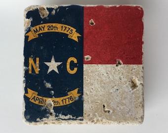 North Carolina State Flag Natural Travertine Tile Stone Coasters Set of 4 with Full Cork Bottom NC Coasters Home Decor Housewarming Gift