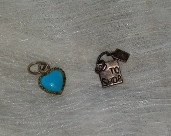 Heart.Turquoise. Sterling. Charms. Sterling Silver. Jewelry. Pendant. Silver charms.. Lot
