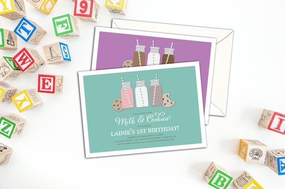 Milk and Cookies Birthday Invitation, Kid's Party Invitations with Envelopes, Grown up Kid's Party Invite, Birthday Invitations