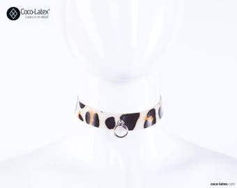 O Ring Leopard Latex Line Choker