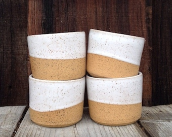 tumblers cup mug ceramic in speckled white and tan clay