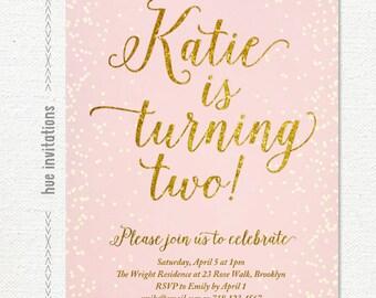 pink gold glitter birthday invitation for girl, blush pink 2nd birthday party invite, chic confetti printable digital invitation s107