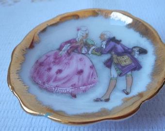 Limoges porcelain small miniature decorative plate Fragonard design
