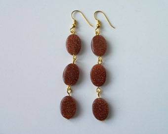 Red Goldstone gold plated  earrings (#469)