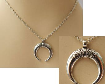 Silver Crescent Moon Pendant Necklace Jewelry Handmade NEW Accessories Fashion
