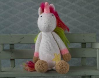 Handmade crochet cuddle toy Unicorn.