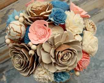Sola flower bouquet, brides wedding bouquet, dusty blue and pale peach wedding flowers, slate blue eco flowers, eco friendly wedding flowers