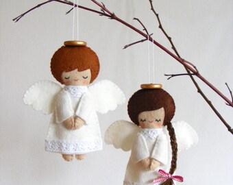 Felt PDF sewing pattern - Felt angels. Christmas tree ornaments, boy and girl angels, easy sewing pattern, angel softies, digital item