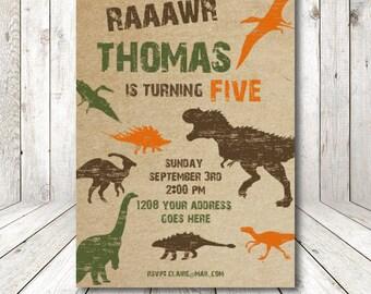 Dinosaur birthday invitation, dinosaur party, printable invitations