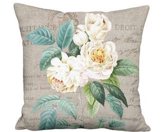 16x16 Inch - READY TO SHIP - White Rose Pillow with Insert - French Country Farmhouse White Rose Rustic Grain Sack Style Cushion Cover