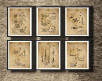 Golf Patent | Golf Print | Vintage Golf Poster | Golf Gift For Him | Golf Gift Men | Golf Gift | Golf Set of 6 Prints - INSTANT DOWNLOAD -