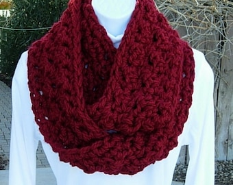 COWL SCARF Infinity Loop Dark Solid Red, Color Options, Crochet Knit Extra Thick Soft Bulky Warm Winter Circle Loop..Ready to Ship in 2 Days