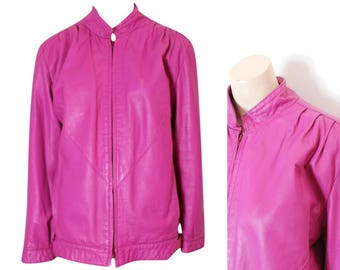 80s Hot Pink Leather Jacket / 1980s / Fuschia Pink Leather / Large Jacket / Size L / 16 /44 / Plus Size Vintage