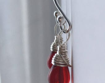Ruby Red Dainty Teardrop Earrings. Small Drop Earrings. Petite Briolette Earrings. Wire Wrapped. Gifts For Her