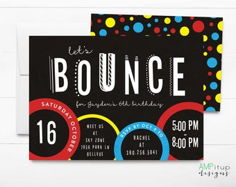 Trampoline Party Invitation - Let's Bounce Birthday Invitation - Trampoline Birthday Party - Jump Birthday - Printable Birthday Party Invite
