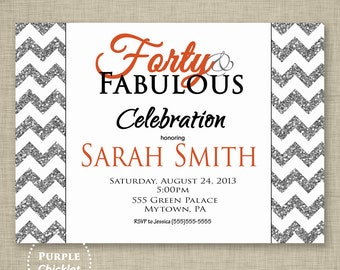Chevron 40th Birthday Invitation Forty and Fabulous Silver Glitter Party  Trendy Adult Party Invite Printable JPG File Invite (56)