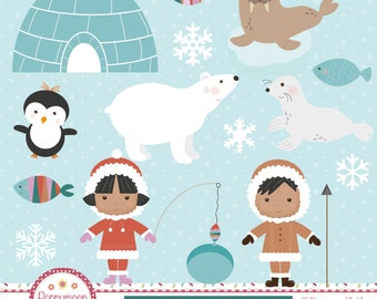 Eskimos, arctic animals, printable digital clipart set
