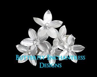Silver Hair Flowers, Bridal Accessories, Wedding Headpiece - 6 Silver Stephanotis Flower Hair Pins - Rhinestone Centers