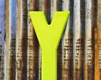 Vintage Metal Marquee Sign Letter, Metal Letter Y, Industrial Metal Letter, Sign Letter