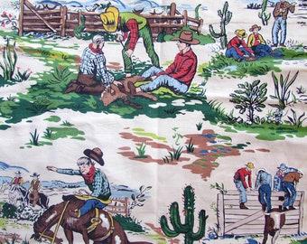"1952 Gabby Hayes Cowboy tissu Valance - coton - 46 ""x 23"""