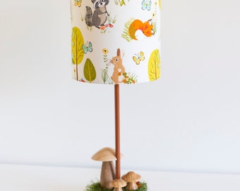 Marvelous Woodland Nursery Natural Wooden Toadstool Lamp With Woodland Creatures  Barrel Lamp Shade Featuring Fox, Deer